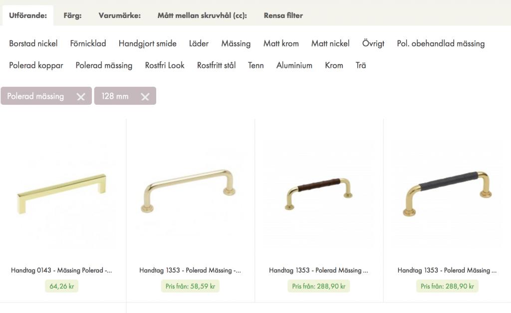 Produkter filtrerade på cc-mått och utförande / material