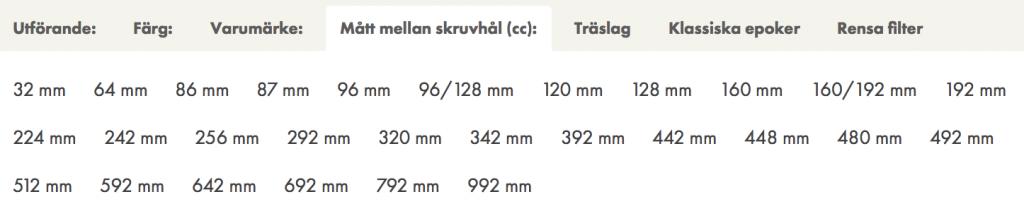 Skärmbild som visar hur du filtrerar på mått mellan skruvhål.