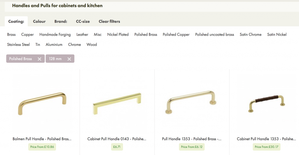 The picture shows products with cc-size 128 mm and in polished brass