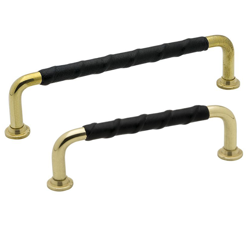 Pull Handle 1353 - Polished Brass / Leather - Beslag Design