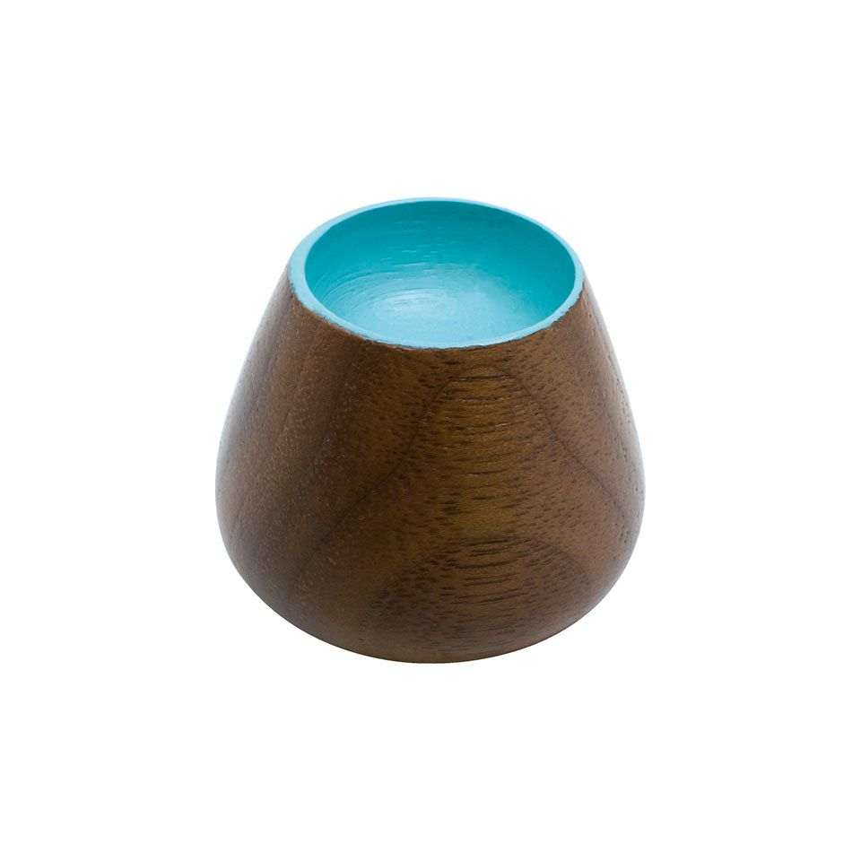 Flower Bud 34 Knob - Wood / Walnut / Turquoise - Beslag Design