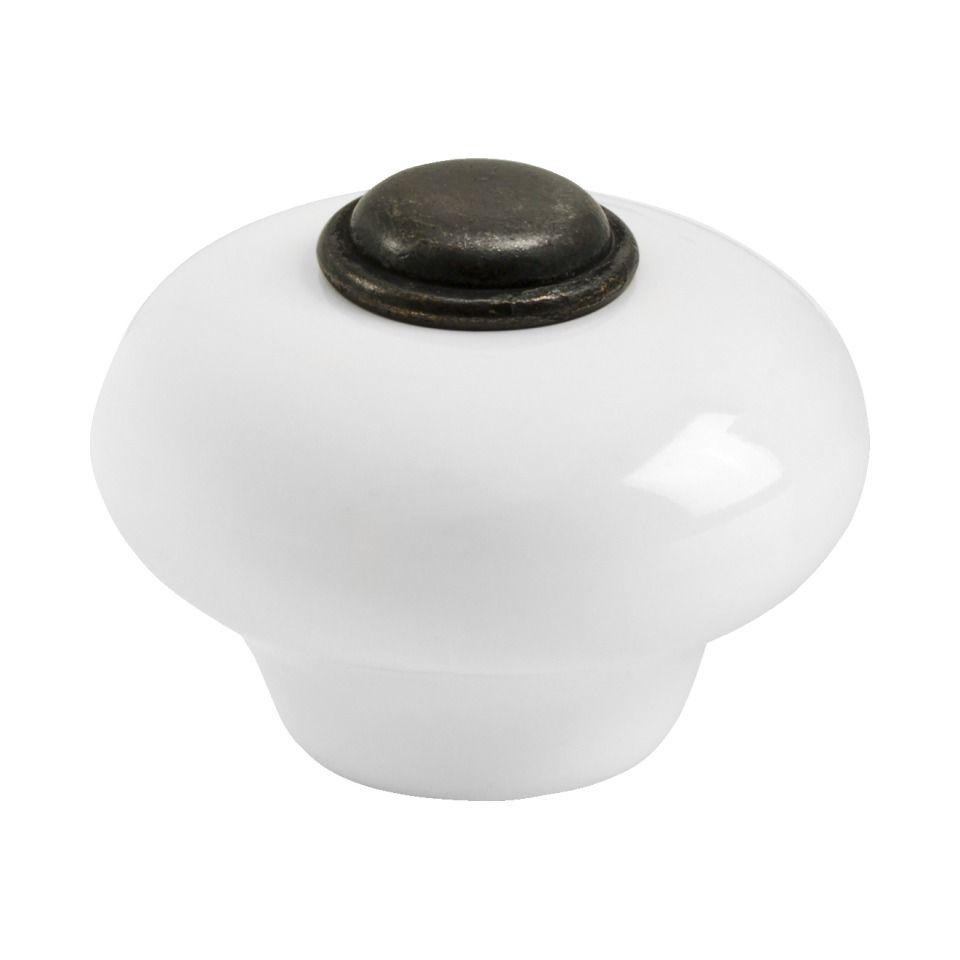 Cabinet Knob 409-32 - Porcelain / Antique Brass - Beslag Design