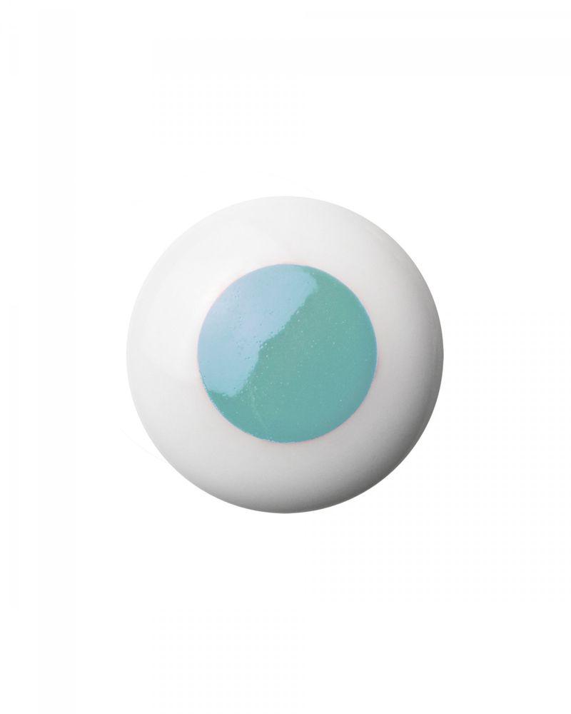 Bouton / Poignée en porcelaine Dot - Bleu clair - Anne Black