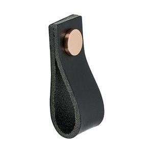 Cabinet Pull Handle Loop - Leather Black / Copper - Beslag Design