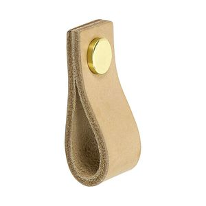 Cabinet Pull Handle Loop - Natural Leather / Brass - Beslag Design