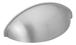 Cabinet Shell Handle / Cup Pull 2532 - Stainless Steel Look- Beslag Design