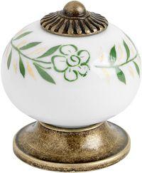 Kastknop / Ladeknop Knop 8131 - Porcelein / Messing / Groen - Beslag Design