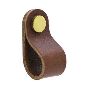 Loop Round Knob - Brown leather / Polished Brass - Beslag Design