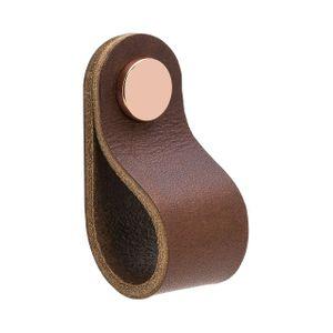 Loop Round nuppi - Ruskea nahka / kiillotettu kupari - Beslag Design